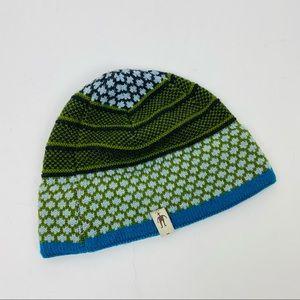 Smart wool green & blue lined beanie hat